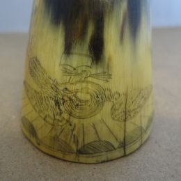 Scrimshaw decorated Horn