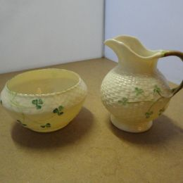 Belleek porcelain Cream & Sugar