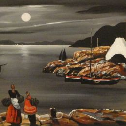 J P Rooney - 'Moonlight Fishing Hamlet'.