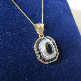 Necklace 9ct - Saphire & Diamond