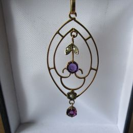 Necklace 9ct Gold - Amethyst & Pearl