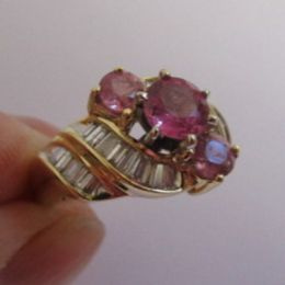 Ring - 14ct Gold, Pink Sapphires and Diamonds