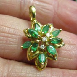 Pendant - 18ct gold, Emerald and Diamond
