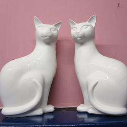 Poole White Cats  -  pair
