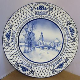 Charger plate, blue and white
