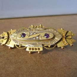 Bar Brooch 9ct Gold - Amethyst & Seed Pearl