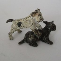 Cold cast painted figure - 2 Dogs