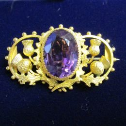 Scottish Brooch 15 ct Gold Amethyst