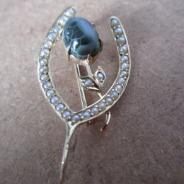 Brooch 14ct Gold - Agate & Pearl