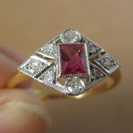 Ring 18ct Gold - Ruby and Diamond