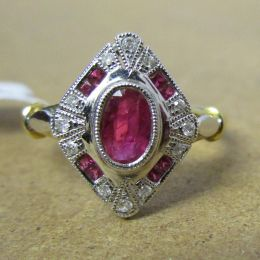 Art Deco Ring 18ct Ruby