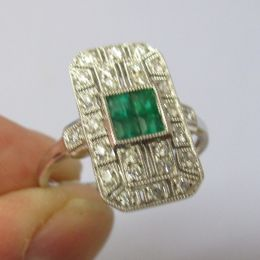 Art Deco Ring 18ct Emerald