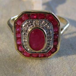 Ring 9ct Gold - Ruby and Diamond