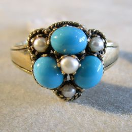 Ring 9ct Gold - Turquoise and Pearl
