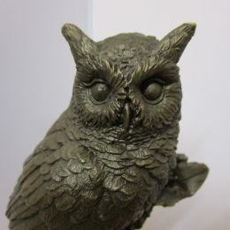 Solid Bronze Owl on Marble Base