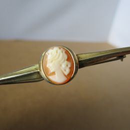 Bar Brooch Gold and Silver - Cameo