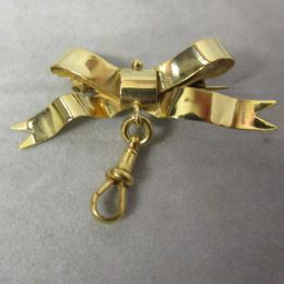 Antique 9ct Gold Bow Pin & Clip - Chester 1904