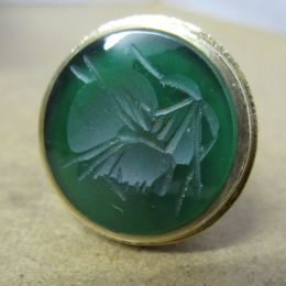 Victorian 9ct Gold Fob / Seal - Carved Jade