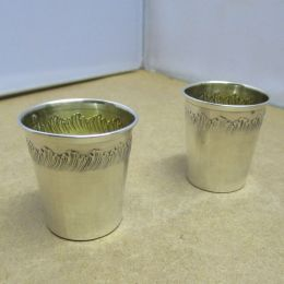Pair French Silver Tot Measures
