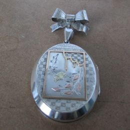 Silver Locket & Bow Brooch