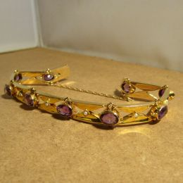 Bracelet 9ct Gold - Amethyst and Seed Pearls