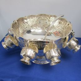 Silver Plated Punch Bowl, Cups and Ladle