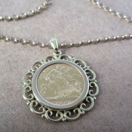 Necklace 9ct Gold - Half Sovereign 1900
