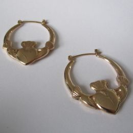 Ear Rings 9ct Gold - Claddagh