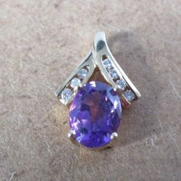 Pendant 9ct Gold - Amethyst and Diamond