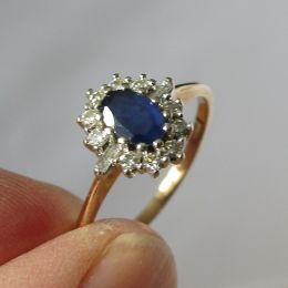 Ring 9ct Gold - Sapphire and Diamond
