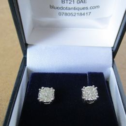 Ear Rings 9ct White Gold - Diamonds