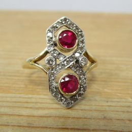 Ring 15ct Art Deco - Ruby & Diamond