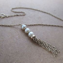 Necklace 9ct Gold Pearl Tassle