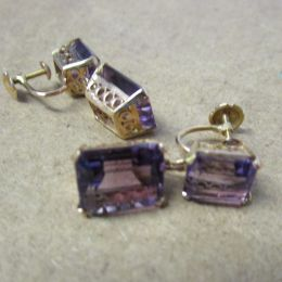 Ear Rings 9ct Gold  Amethyst