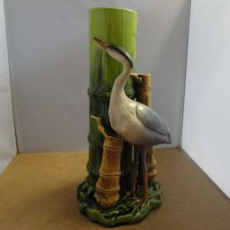 Bretby Heron and Bamboo Vase