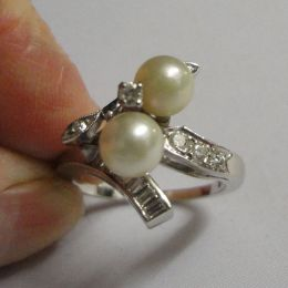 Ring - 14ct White Gold - Diamonds and Pearls